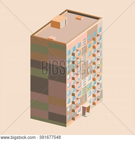 Stylized Standard Soviet 9-storey Panel House, Multi-apartment