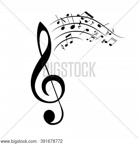 Notes Musical, Design Music Element Isolated On White Background. Monochrome Composition, Sound Back