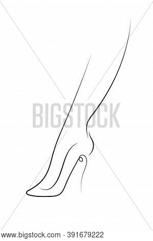 Foot In High-heeled Shoes. Minimal Poster With Continuous Line.