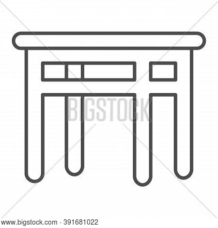 Dining Table Thin Line Icon, Kitchen Interior Concept, Furniture For Dining Room Sign On White Backg