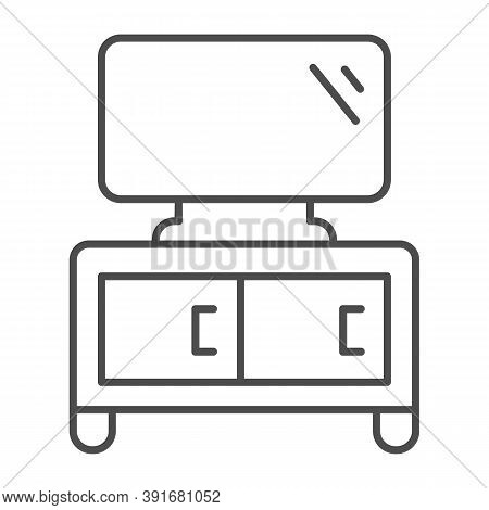 Dresser With Tv Thin Line Icon, Furniture Concept, Home Decor With Plasma Sign On White Background,