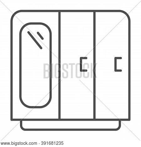 Wardrobe With Mirror Thin Line Icon, Furniture Concept, Retro Wood Closet Sign On White Background,