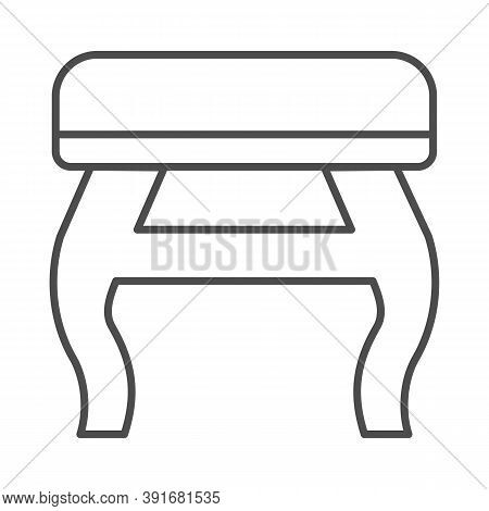 Retro Stool Thin Line Icon, Furniture Concept, Retro Pouf With Legs Sign On White Background, Wooden