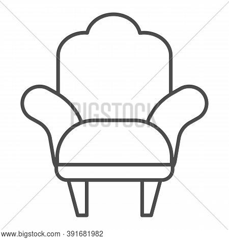 Armchair Thin Line Icon, Furniture Concept, Comfortable Chair Sign On White Background, Armchair Wit