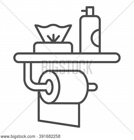 Toilet Paper, Air Freshener And Napkins Thin Line Icon, Hygiene Concept, Toiletries Sign On White Ba
