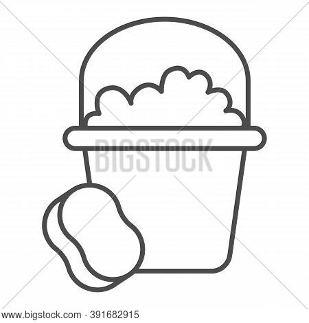 Bucket With Soapy Water And Sponge Thin Line Icon, Cleaning Service Concept, Home Cleaning Tools Sig