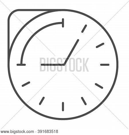 Clock With Hour Duration Thin Line Icon, Medical Concept, Medication Time Schedule Sign On White Bac