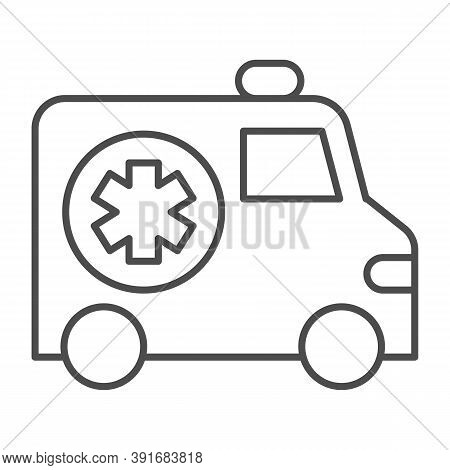 Ambulance Car Thin Line Icon, Medical Concept, Emergency Transport Sign On White Background, Emergen