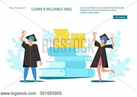 Landing Webpage Template Of College Payment. Tiny Students Wearing Academic Gown And Graduation Cap