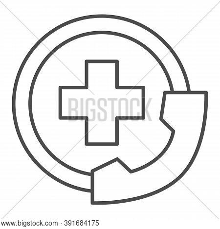 Handset And Medicine Cross Thin Line Icon, Medical Concept, Emergency Call Sign On White Background,