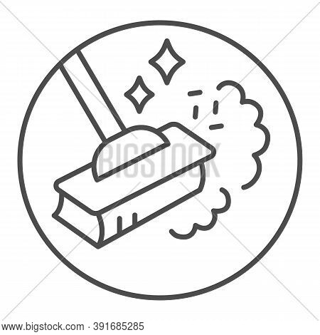Sweeping Dust With Broom Thin Line Icon, Housework Concept, Broom In Dust Clouds Sign On White Backg