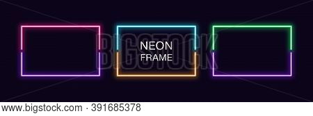 Neon Rectangle Frame. Set Of Rectangular Neon Border In 2 Outline Parts. Vector Geometric Shape With