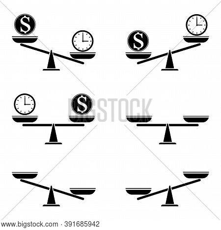 Vector Set Of Icons Of Different Scale. Comparison And Fairness Illustration. Life And Money Compari