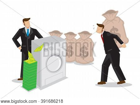 Businessman Order His Employee To Carry His Money Into A Washing Machine. Concept Of Dirty Money, La