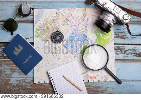 Travel And Trip Plan , Tourism Vacation Mockup On Wooden Table. Top View , Summer Accessories And It