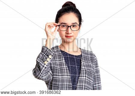 Portrait Of Beautiful Young Asian Woman Standing Of Serious Confident With Clean Fresh White Skin Is