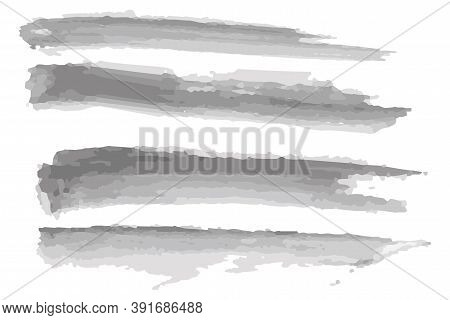 Vector Illustration Of Watercolor Brush Strokes. Gray Ink On A White Background. Soft Gray Texture.