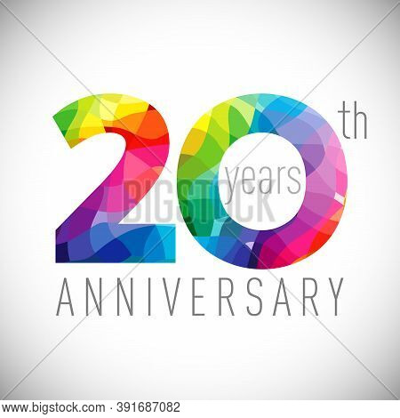20th Anniversary Numbers. 20 Years Old Logotype. Bright Congrats. Isolated Abstract Graphic Design T