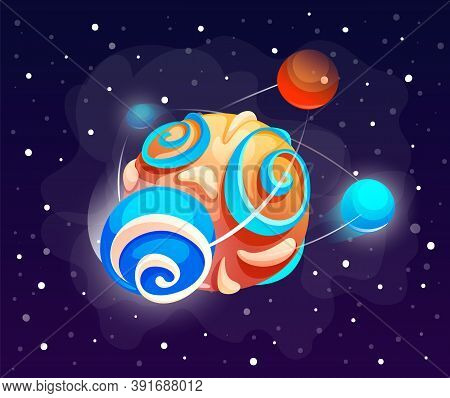 Cartoon Icon Of Planet With Colorful Balls. Cute Unknown Planet Element. Colorful Space Planet Isola