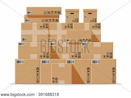 Cardboard Boxes Pile Isolated On White. Carton Delivery Packaging Closed, Sealed, Cubic, Big And Sma
