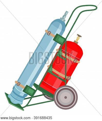 Gas Cylinder Vector Tank. Propane Bottle Icon Container. Oxygen Gas Cylinder Canister Fuel Storage.