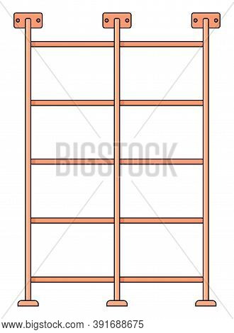 Gym Ladder Icon Vector. Wooden Fitness Ladder Attached To The Wall. Gym Equipment Flat Illustration.