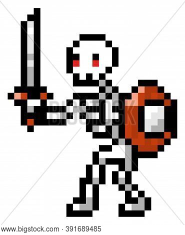 Vector Pixel Character. Pixel Art Style. Illustration Of Pixel Skeleton With Shield And Sword On Whi