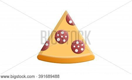 Slice Of Pizza On A White Background, Vector Illustration. Appetizing Pizza On Thin Dough Stuffed Wi