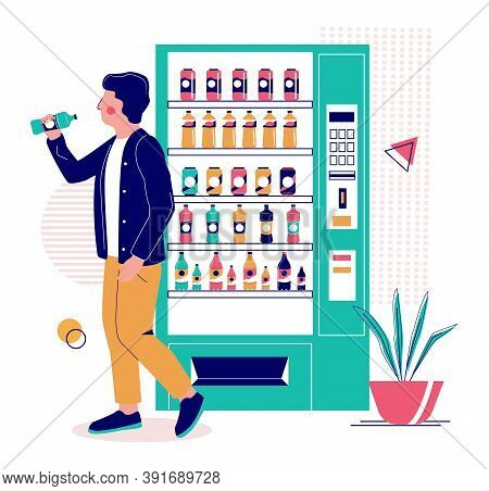 Young Man Drinking Water He Has Bought From Drink Vending Machine, Flat Vector Illustration.