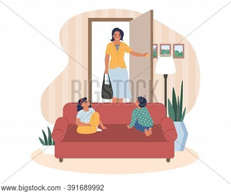 Happy Mother Coming Back Home From Work, Kids Waiting For Her Sitting On Sofa, Flat Vector Illustrat