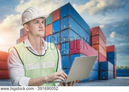 Container Supervisor Control Import/export While Inspecting Containers Box In Warehouse Storage Dist