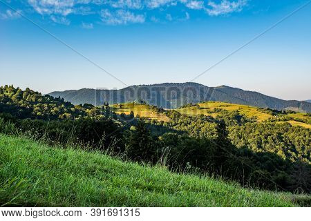 Mountain Tops In Green Trees Glades Blue Sky.