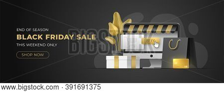 Website Slider For Black Friday Sale With Copy Space. Monoblock, Gold Card, Shopping Bag, Gift Box O