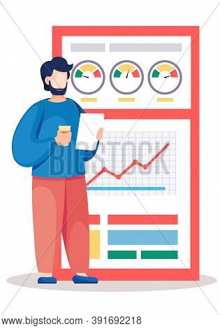 Bearded Man Analyzes Graphs And Charts On The Background. The Marketer Studies Information About The