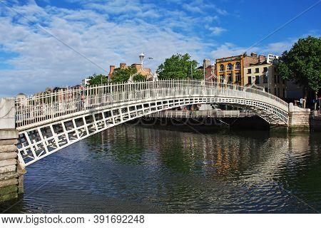 Dublin, Ireland - 03 Aug 2013: Ha Penny Bridge In Dublin, Ireland