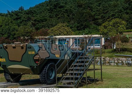 Hampyeong-gun, South Korea; September 27, 2020: Rear View Of Military Troop Transport Vehicle On Dis