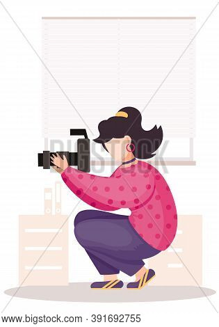 The Girl Sitting And Adjusting The Long Lens. Photographic Art. A Woman Prepares Camera For A Photo