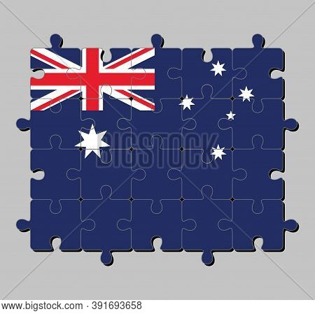 Jigsaw Puzzle Of Australia Flag In Blue Red And White Color With White Star And Union Jack. Concept
