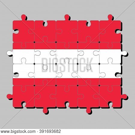 Jigsaw Puzzle Of Austria Flag In A Horizontal Triband Of Red (top And Bottom) And White. Concept Of