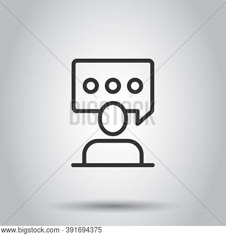 People With Speech Bubble Icon In Flat Style. Chat Vector Illustration On White Isolated Background.