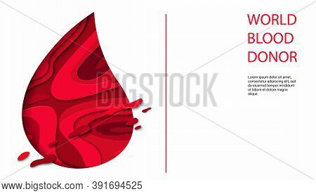 World Donor Day Vector Illustration For Posters Or Invitations, Medical Design With 3d Paper Cut Sha