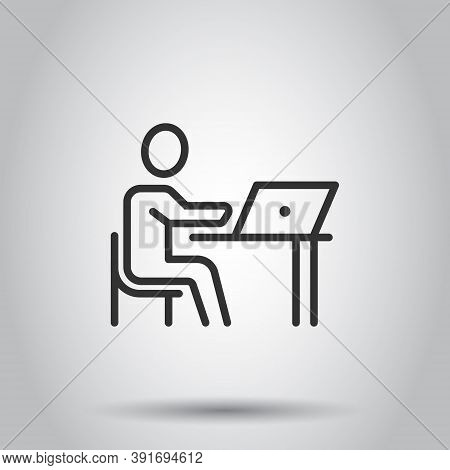 People With Laptop Computer Icon In Flat Style. Pc User Vector Illustration On White Isolated Backgr