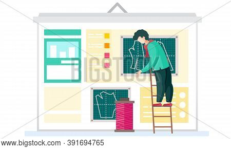 Sewing With Designer Or Seamstress Works With Pink Skein Of Thread Standing On Ladder. Professional