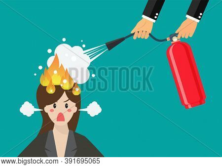 Angry Business Woman With Head On Fire Gets Help From Man With Extinguisher. Vector Illustration