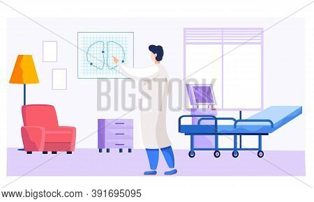Health Protection Concept. The Doctor In The Medical Office Holding Lung Snapshot In His Hand. Thera