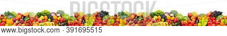 Large horizontal seamless pattern of fruits and vegetables isolated on white background.