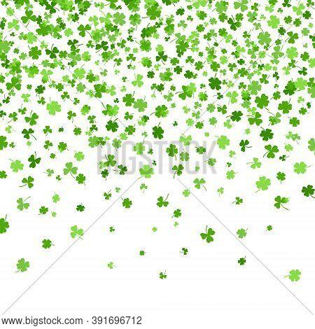 Shamrock Or Clover Leaves Flat Design Green Backdrop Pattern Vector Illustration Isolated On White B