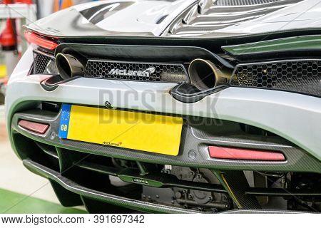 06.09.2018 Rear Exhaust System And Ventilation Of Mclaren 720s Spider Hypercar Super Sportscar Blank