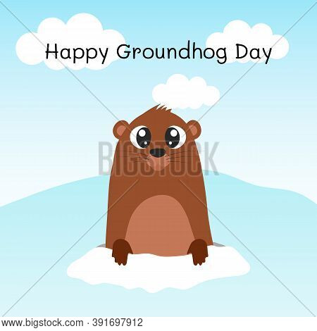 Happy Groundhog Day. Groundhog Coming Out Of Its Burrow.