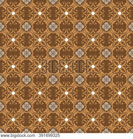 Cute Motifs On Parang Batik With Smooth Golden Brown Color Design.